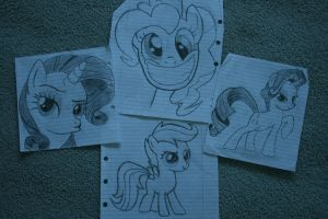 Ponies, found at the back of my maths book. by Miguellos