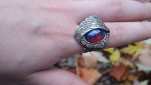 Angel Wing Ring Fire Opal Adjustable by artistiquejewelry