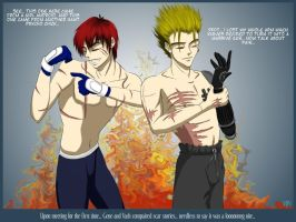 Gene and Vash compare scars... by TsukiKamiKat