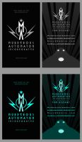 Raygun Gothic Business Card Designs by MurderousAutomaton