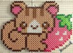 Strawberry Squirrel by PerlerPixie