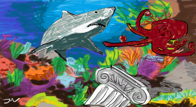Shark Vs Octopus: Beef at the Reef by jmiller06