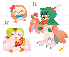 Rowlet evoltion stickers by ieafy