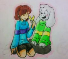 Frisk and Asriel by Fangirll-Aneko