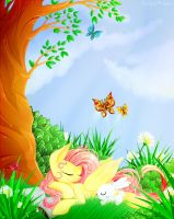 Fluttershy in the forest. by TwistedMindBrony