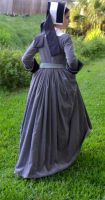 Grey Tudor Gown and Hood3 by CenturiesSewing