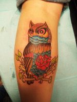 Traditional Owl Tattoo by StarvingArtist513