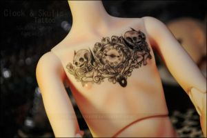 Clock + Skulls Tattoo by asainemuri
