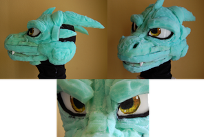 Dragon Fursuit head WIP by CowSprite