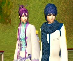 Kaito and Gakupo in Sims 2 by NegativeDanna