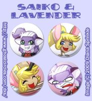 Saiko and Lavender Button Set by amegoddess