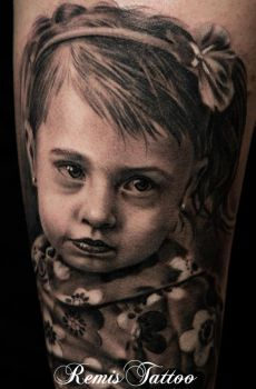 Babe Portarit Tattoo Black And Grey by Remistattoo