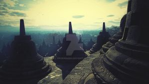 sunrise over borobudur by mh2enough