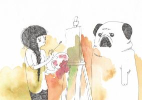 painting with mr pug by Wik86