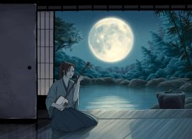 Shamisen by Moonlight by tamiart
