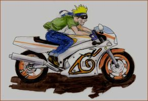 Naruto on a bike by not-ton