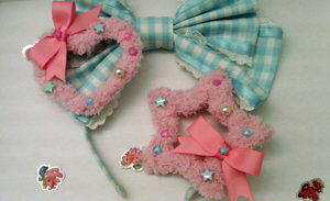 Fairy Kei Fuzzy Star Heart Two Way Pink Hair Clip by Kreepy-Kawaii