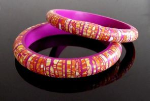 Yellow Stroppel polymer clay bangles by OriginalBunny