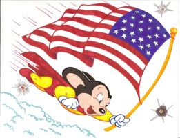 Mighty Mouse with Flag by zombiegoon