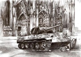 Damaged Panther and cathedral by Ikarus-001