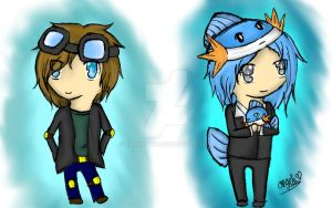 chibi DanTDM and HuskyMudkipz by RainiPawz