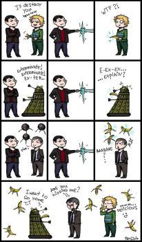 Ninth Doctor and a banana by TemLin