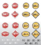 Shopping labels in red and in yellow by Inshader