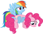 Dash carrying Pinkie by Really-unimportant
