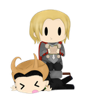 Thor and Loki by SirMimsyPompingdon