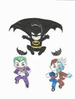Baby Batman vs.Baby Two Face and Baby Joker by Graymalkin2112