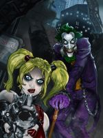 ARKHAM CITY: HARLEY QUINN AND JOKER colors by CThompsonArt