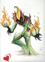 Swamp Fire made with prisma color pencil by wccomics