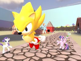 Classic Super Sonic in Ponyville by JJsonicblast86