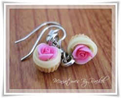 Rose Cupcake Earrings by ToothFairyMiniatures