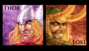 Thor and Loki Diptych by StephenSchaffer