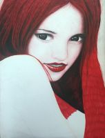 Mixed Media Portrait-Scarlet Red(wip) by aziatrix