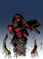 Hellboy vs Cthulu Colour by PacoZarco