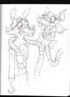 Foxy and Mangle (Fnaf 2 doodle) by The-Heraldic-Sword