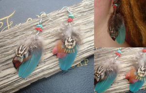 Turquoise Sea Feather Earrings by IdaLarsenArt