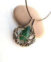 green chalcedony bronze necklace by annie-jewelry