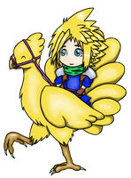 Cloud et une Chocobo by Alya-Phoenix