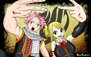 Natsu with Lucy by Xela-scarlet