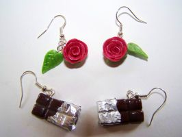 Rose and Chocolate Bar Earrings by ByToothAndClaw