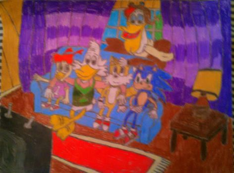 Sonic, Drake(Darkwing) and friends watching TV by Yoshifan163