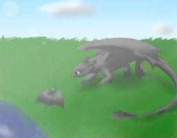 Toothless and Silvermoon by MizaT11