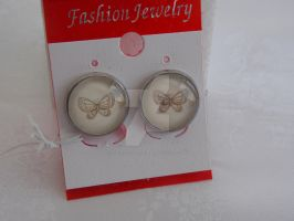 Butterflies cabochon earrings 199c by Quested-Creations