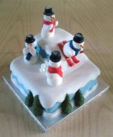 Christmas cake-snowmen ice skating by KarenJerram