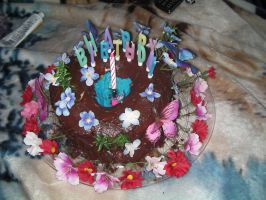 Flower Themed B-Day Cake by wolfforce58