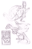 Hound and Dragon Concept Doodles 2 by tashcrow