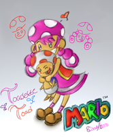 Mario- Toadette Luffs Toad by o0Essa0o